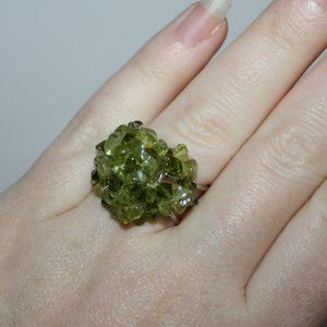 Adjustable silver and green stone cluster ring